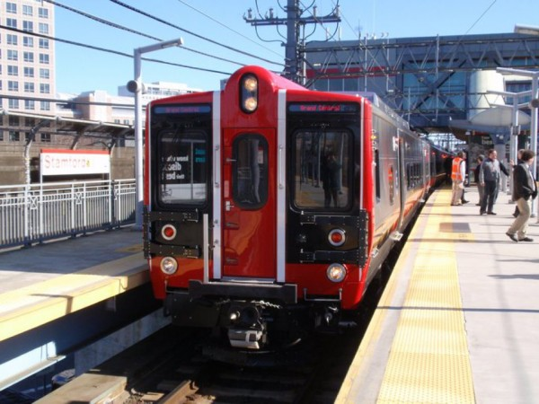 New Haven line red trains